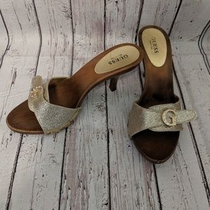 Guess gold and wood heels